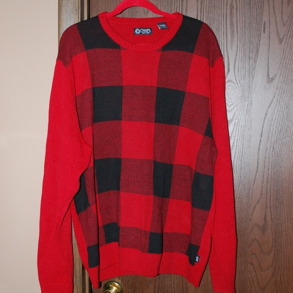 Chaps Other - Men's Chaps Red/Black Plaid Sweater - EUC